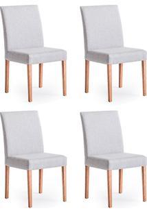Conjunto Com 4 Cadeiras De Jantar Sky Cinza E Castanho