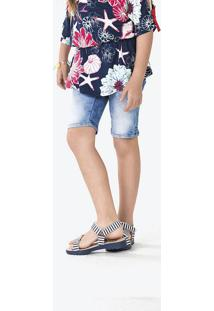 Bermuda Jeans Infantil Menina Com Lavação Clara Puc