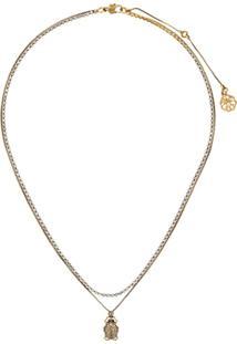 Alexander Mcqueen Crystal Beetle Necklace - Dourado