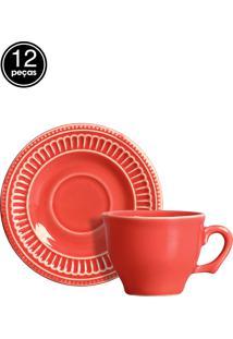 Conjunto 6 Xícaras De Café Poppy Coral Scalla