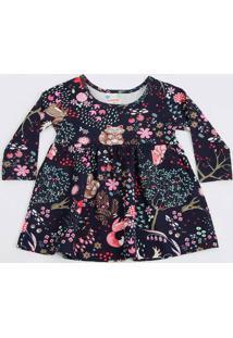 Vestido Infantil Bebê Estampa Tropical Manga Longa Brandili