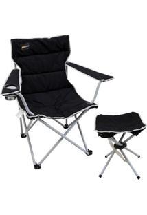 Cadeira Dobrável Boni Com Porta Copo + Banqueta Dobrável Stool Nautika - Unissex