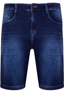 Bermuda Denim Malha Dark Blue (Jeans Escuro, 38)