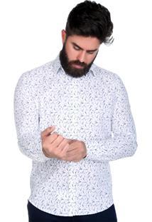 Camisa Micro Estampada Riscos Thones Slim Branca