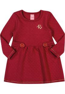Vestido Kinha Primeiros Passos Em Matelassê Outono Inverno 03 Vermelho Escuro - Kanui