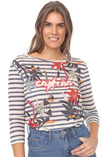 Camiseta Cantão Floral Listras Bege/Azul - Kanui