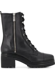 Michael Michael Kors Ankle Boot De Couro Com Cadarço - Preto