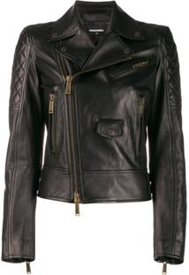Dsquared2 Zip Panelled Biker Jacket - Preto