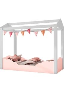 Mini Cama Casinha Montessoriana Colorê-Pura Magia - Branco / Rose