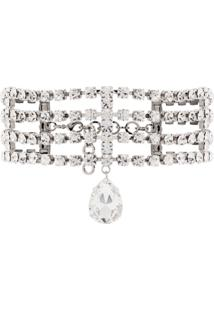 Alessandra Rich Crystal-Embellished Choker Necklace - Prateado
