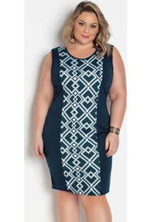 Vestido Geométrico Marinho Plus Size Anatômico