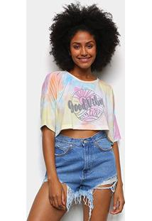 Camiseta Cropped Oversize Tricats Tie Dye Good Vibes Feminina - Feminino-Azul+Amarelo