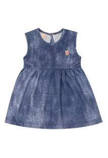 Vestido Bebê Hrradinhos Manga Curta Azul Jeans
