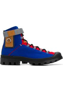 Loewe Colour-Blocked Lace-Up Ankle Boots - Azul