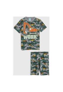 Pijama Kyly Curto Infantil Estampado Verde/Cinza