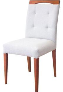 Cadeira Estofada Plus Madeira Maciça 4 Peças Amendoa-Bege
