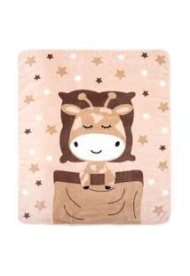 Cobertor Bebê Microfibra Bege Girafa (90X110Cm) - Baby Joy - Tamanho Único - Bege