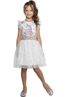 Vestido Branco Menina Unicórnio