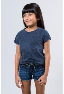Camiseta Infantil Basica Lisa Reserva Mini Feminina - Feminino-Azul Petróleo