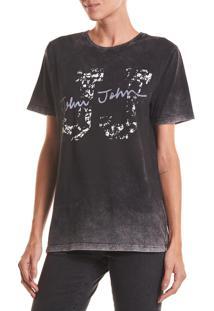 Camiseta John John Rg Destroy Jj Malha Algodão Preto Feminina (Preto, G)