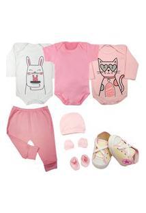 Saída De Maternidade Enxoval Roupa Bebê Kit 6 Pçs Body Mijão Rosa