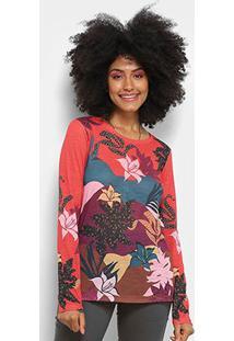 Camiseta Cantão Manga Longa Estampa Floral Feminina - Feminino-Vermelho Claro