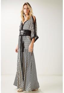 Vestido Seda Longo Triângulo Mix