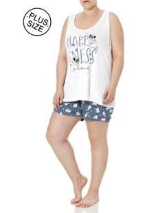 Pijama Curto Plus Size Feminino Off White