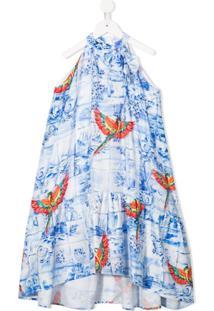 Stella Jean Kids Vestido Azul Com Estampa