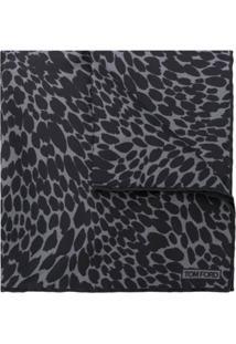 Tom Ford Echarpe De Seda Animal Print - Preto
