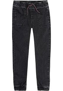 Calça Jeans Jogger Juvenil Hering Kids Masculina - Masculino-Preto
