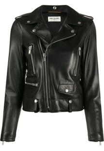 Saint Laurent Jaqueta Biker Slim - Preto