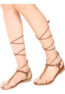 Rasteira Dafiti Shoes Gladiadora Fivela Marrom