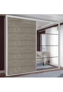 Guarda-Roupa Casal 2 Portas Com 1 Espelho 100% Mdf 1912E1Ca Branco Tx/Demoli - Foscarini