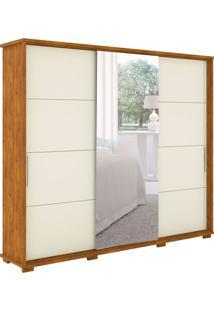 Guarda-Roupa Casal Com Espelho New Fortuno 3 Pt 6 Gv Nature E Off White