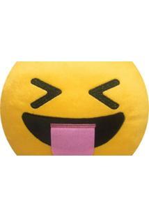 Almofada Capital Do Enxoval Emoji Mostrando A Língua De Olhos Fechados Estampado