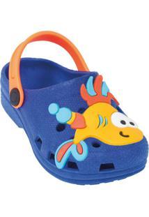 Babuche Infantil Azul Com Peixinho