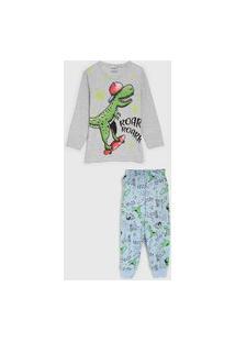Pijama Fakini Longo Infantil Dinossauro Cinza/Roxo