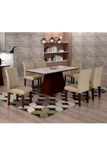 Conjunto De Mesa De Jantar Luna Com Vidro E 6 Cadeiras Ane I Linho Castor E Branco