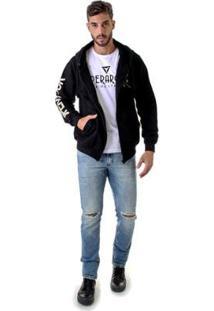 Blusa Moleton Felpudo Operarock Com Bolso Masculina - Masculino-Preto