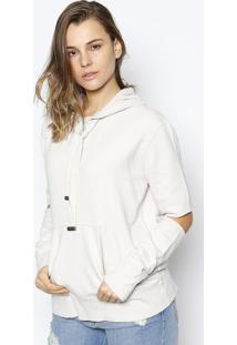 Blusão Em Moletom Com Vazados - Bege Clarole Lis Blanc