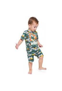 Pijama Infantil Menino Camiseta + Bermuda Kyly Verde.