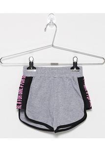 Shorts Infantil For Girl Moletinho Silk Lateral - Feminino-Cinza