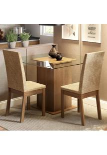 Conjunto Sala De Jantar Madesa Cau Mesa Tampo De Vidro Com 2 Cadeiras Marrom - Tricae