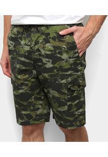 Bermuda Hd Walk Camuflada Masculina - Masculino-Verde Militar