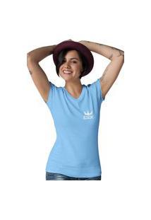 Camiseta Feminina Gola V Ezok King Azul Claro