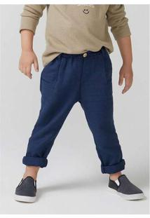 Calça Infantil Menino Em Sarja Com Elastano Slim A