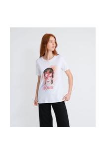 Camiseta Manga Curta Em Algodão Estampa David Bowie Tour   David Bowie   Branco   Pp