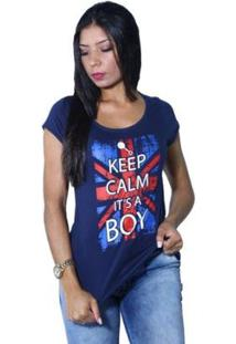 Camiseta Heide Ribeiro Keep Calm It'S A Boy Feminina - Feminino-Marinho