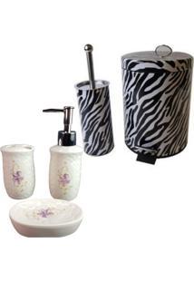 Kit Para Banheiro Com Lixeira Saboneteira Porta Escova - Deca R01
